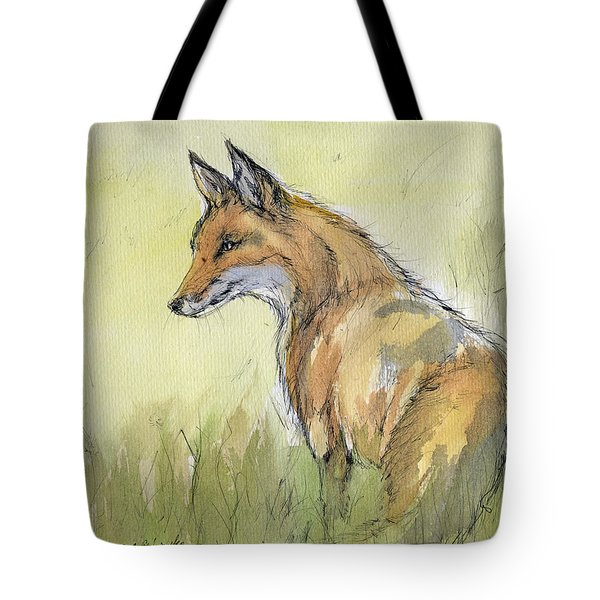 Wild Fox Watercolor Painting Tote Bag by Angel  Tarantella