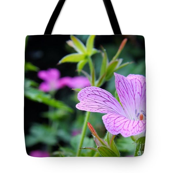 Tote Bag featuring the photograph Wild Geranium Flowers by Clare Bevan