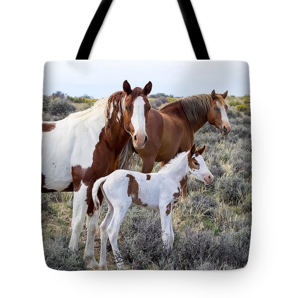 Wild Horse Family Portrait Tote Bag