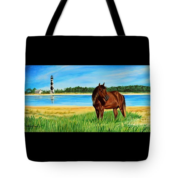 Wild Horse Near Cape Lookout Lighthouse Tote Bag