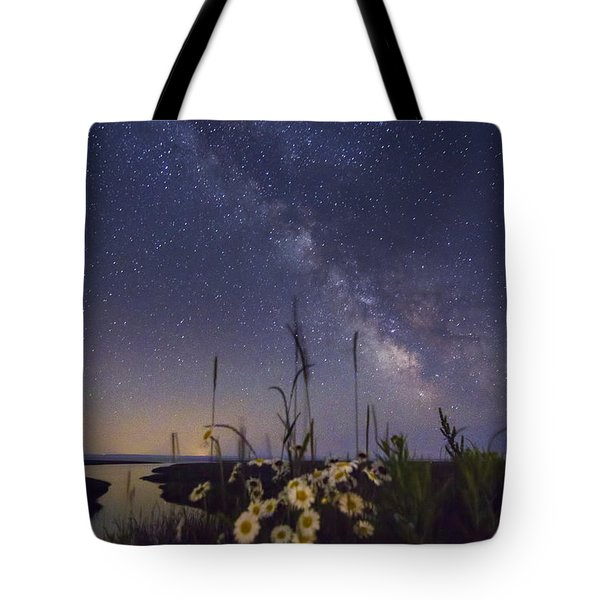 Wild Marguerites Under The Milky Way Tote Bag by Mircea Costina Photography