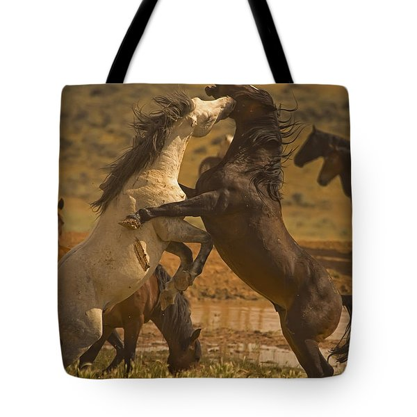 Wild Mustang Stallions - Signed Tote Bag by J L Woody Wooden