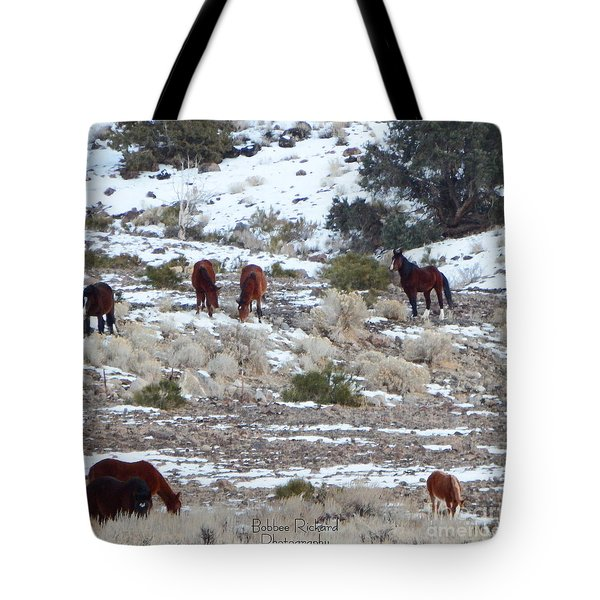 Wild Mustangs In A Nevada Winter Tote Bag