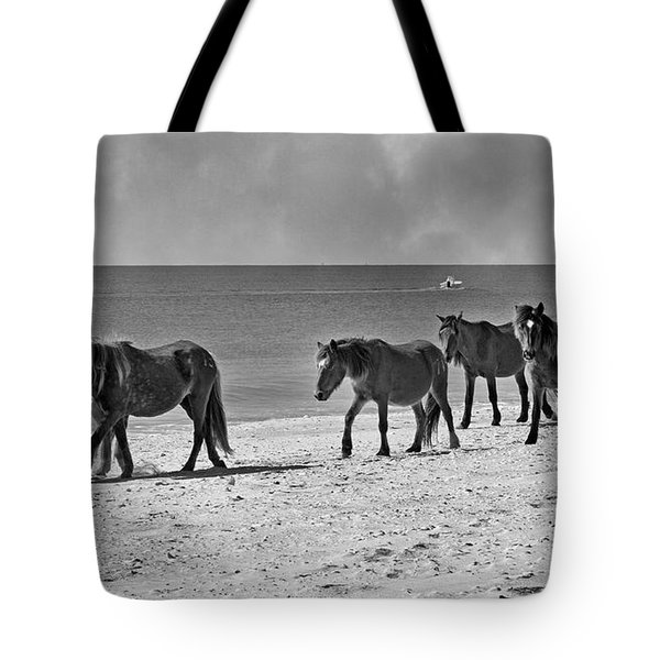 Wild Mustangs Of Shackleford Tote Bag