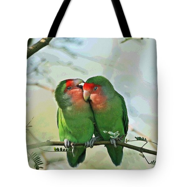 Tote Bag featuring the photograph Wild Peach Face Love Bird Whispers by Tom Janca