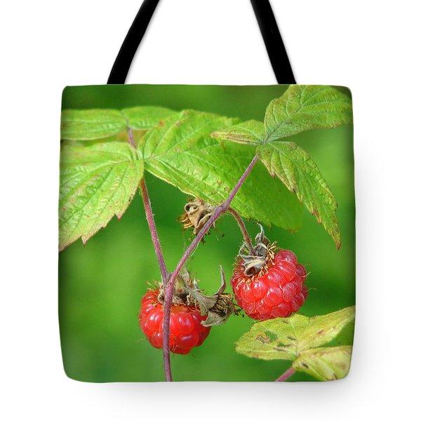 Wild Raspberries Tote Bag by Lew Davis