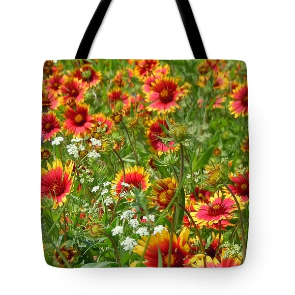 Tote Bag featuring the photograph Wild Red Daisies #2 by Robert ONeil