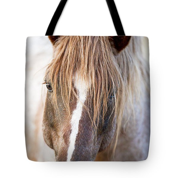 Wild Red Roan Stallion Comes Close Tote Bag by Carol Walker