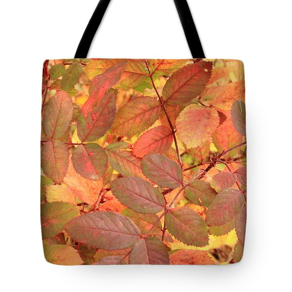 Wild Rose Leaves In Autumn Tote Bag