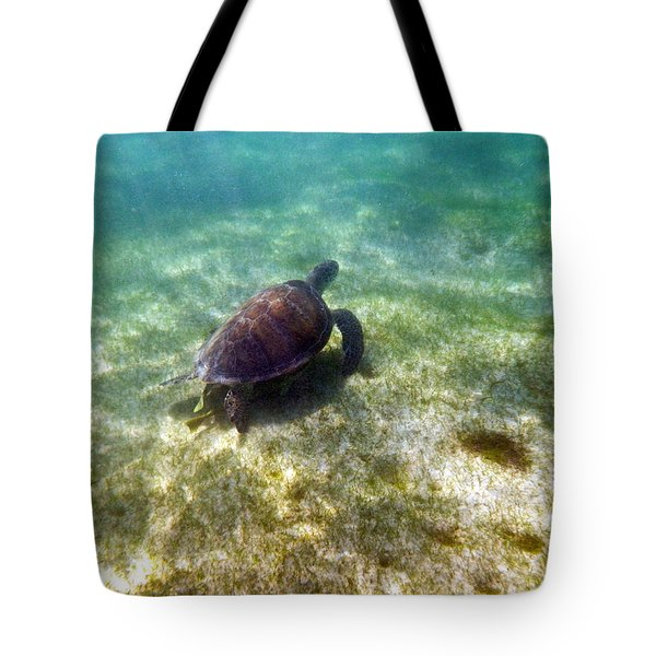 Tote Bag featuring the photograph Wild Sea Turtle Underwater by Eti Reid