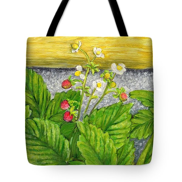 Tote Bag featuring the painting Wild Strawberries In Summer by Jingfen Hwu