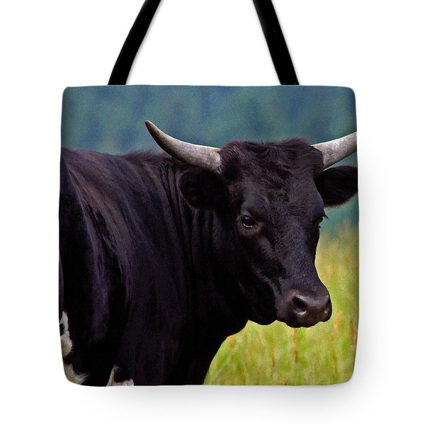 Tote Bag featuring the painting Wild Type Colored Heifer Longhorn Cow by Karon Melillo DeVega