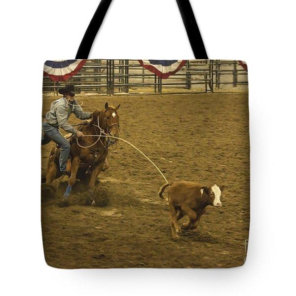Wild West Calf Roping Tote Bag