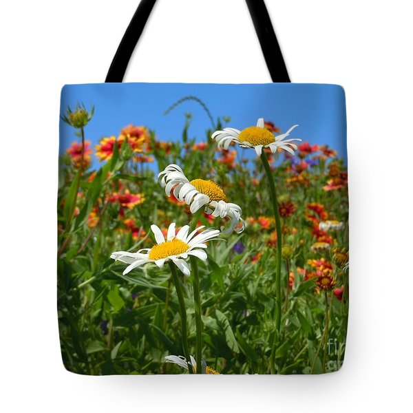 Tote Bag featuring the photograph Wild White Daisies #1 by Robert ONeil