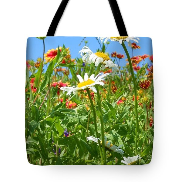 Tote Bag featuring the photograph Wild White Daisies #2 by Robert ONeil
