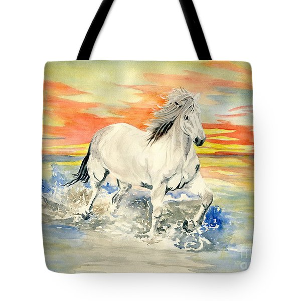 Wild White Horse Tote Bag
