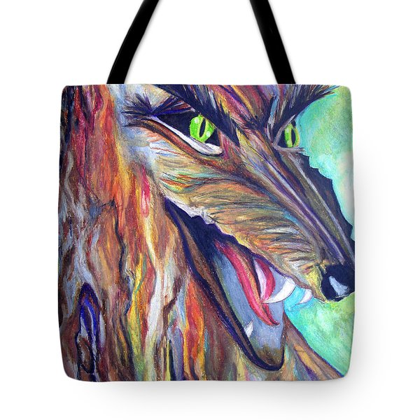 Tote Bag featuring the drawing Wild Wolf by Daniel Janda