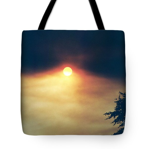 Tote Bag featuring the photograph Wildfire Smoky Sky by Kerri Mortenson