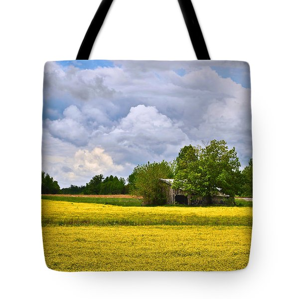 Tote Bag featuring the photograph Wildflower Field Barn by Greg Jackson