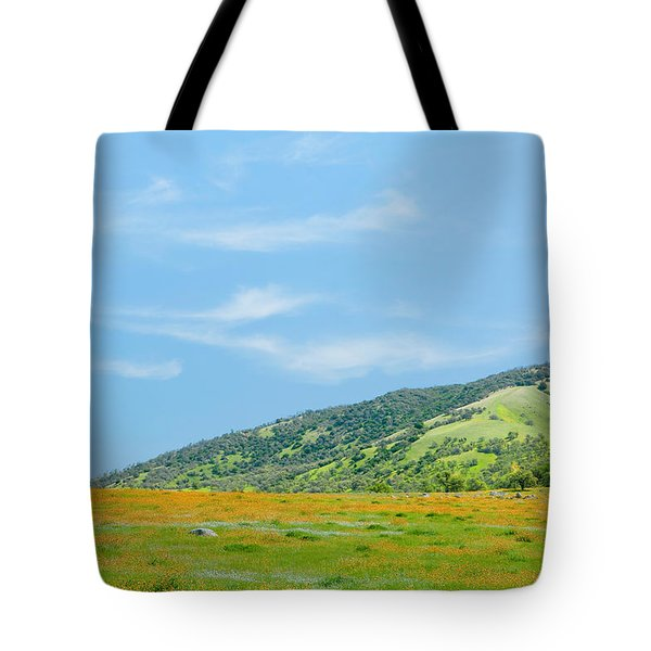 Afternoon Delight - Wildflowers And Cirrus Clouds - Spring In Central California Tote Bag