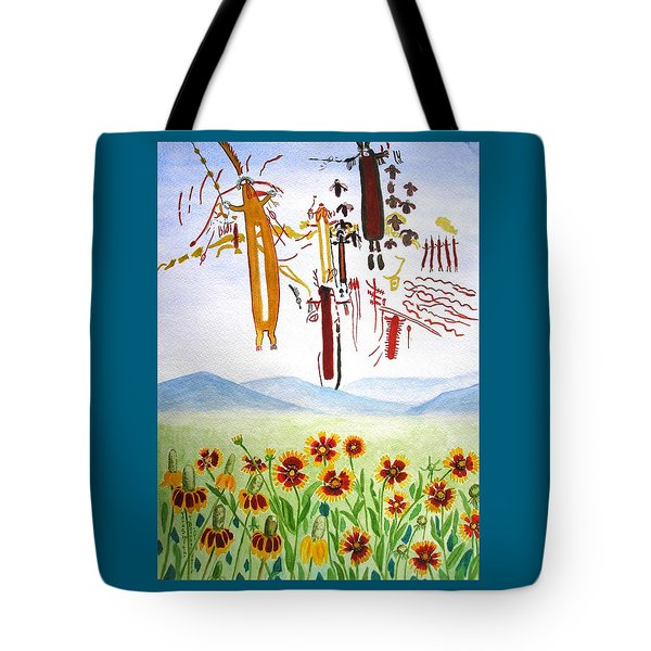 Wildflowers And Rock Art At Halo Shelter  Tote Bag