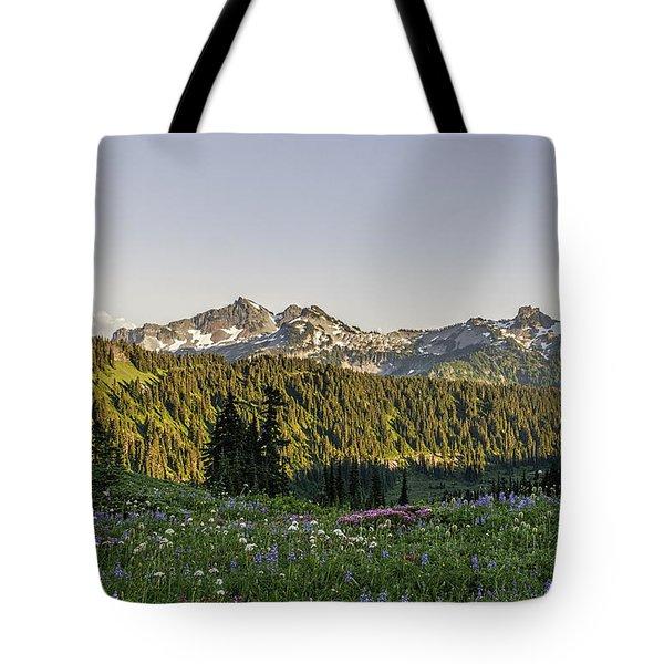 Wildflowers And The Tatoosh Range Tote Bag by Sharon Seaward