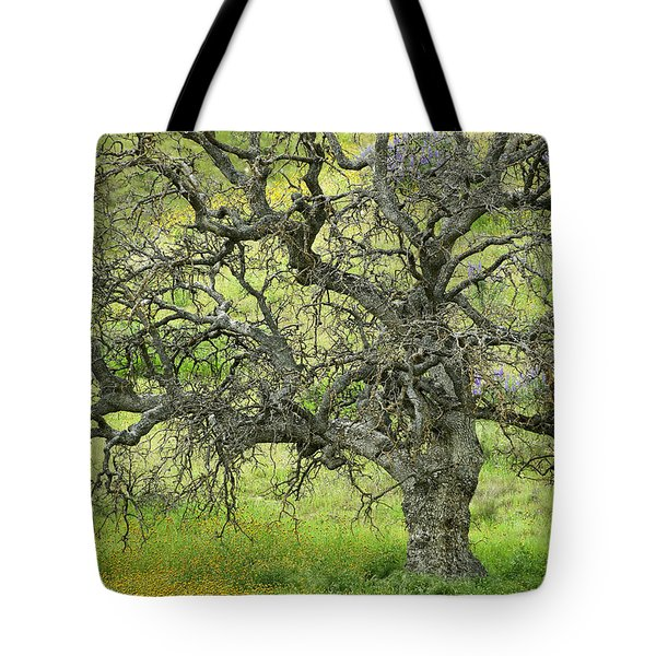 Wildflowers Under Oak Tree - Spring In Central California Tote Bag