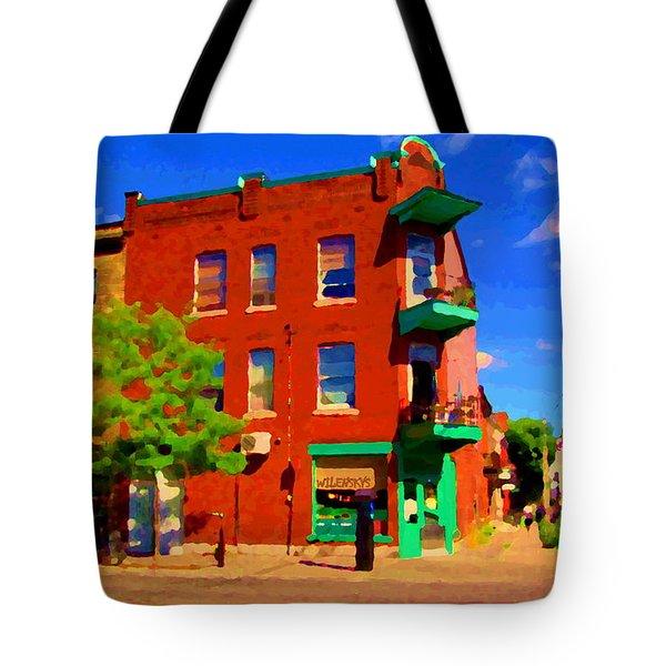 Wilenskys Deli Light Lunch Famous Sandwich Coffee Shop Art Of Montreal Street Scene Carole Spandau Tote Bag by Carole Spandau