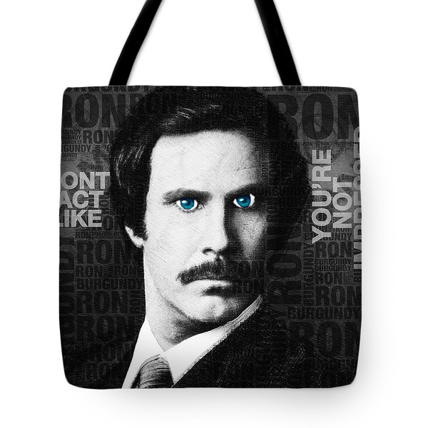 Will Ferrell Anchorman The Legend Of Ron Burgundy Words Black And White Tote Bag by Tony Rubino