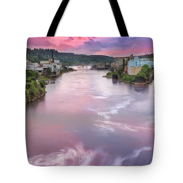 Willamette Falls During Sunset Tote Bag by David Gn
