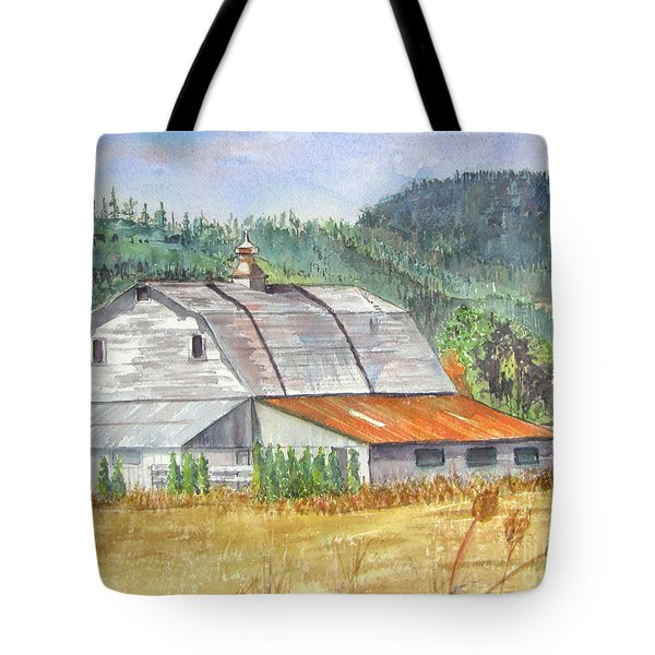 Tote Bag featuring the painting Willamette Valley Barn by Carol Flagg