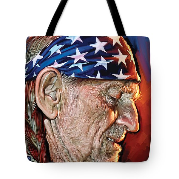 Tote Bag featuring the painting Willie Nelson Artwork by Sheraz A