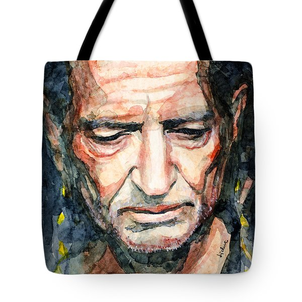 Tote Bag featuring the painting Willie Nelson  by Laur Iduc