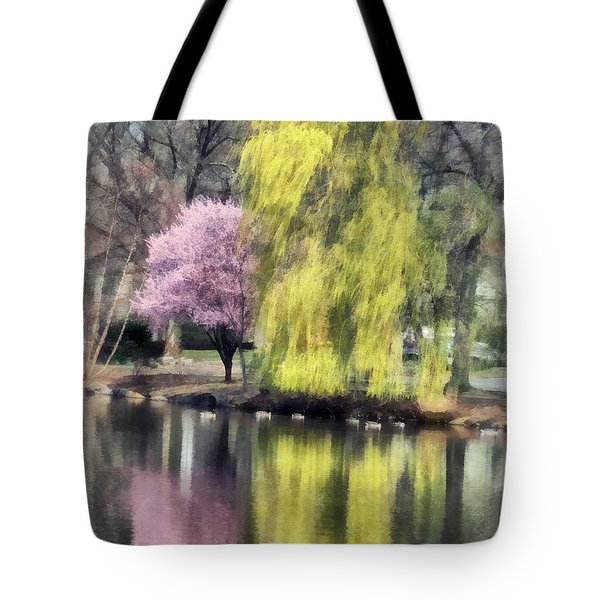 Willow And Cherry By Lake Tote Bag by Susan Savad