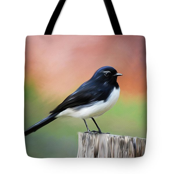 Willy Wagtail Austalian Bird Painting Tote Bag