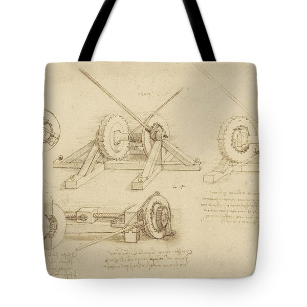 Winch Great Spring Catapult And Ladder From Atlantic Codex Tote Bag by Leonardo Da Vinci