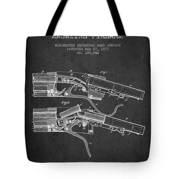 Winchester Firearm Patent Drawing From 1877 - Dark Tote Bag