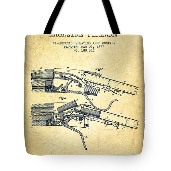 Winchester Firearm Patent Drawing From 1877 - Vintage Tote Bag