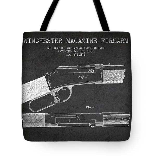 Winchester Firearm Patent Drawing From 1888- Dark Tote Bag