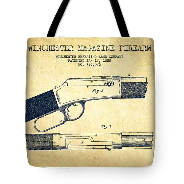 Winchester Firearm Patent Drawing From 1888- Vintage Tote Bag by Aged Pixel