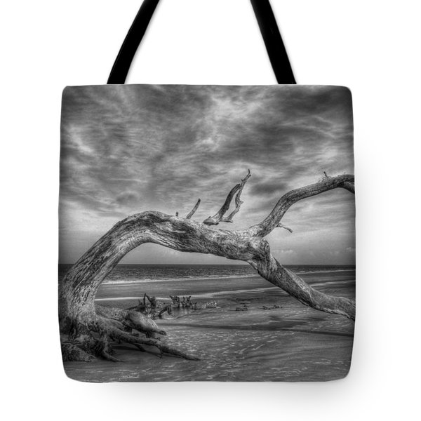Wind Bent Driftwood Black And White Tote Bag by Greg and Chrystal Mimbs