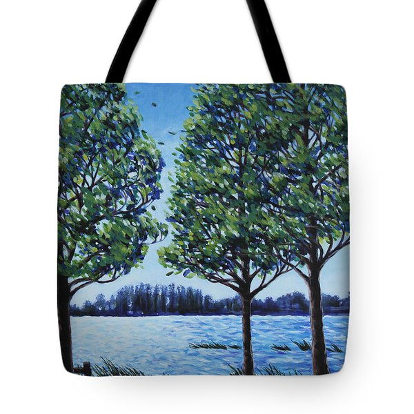 Tote Bag featuring the painting Wind In The Trees by Penny Birch-Williams