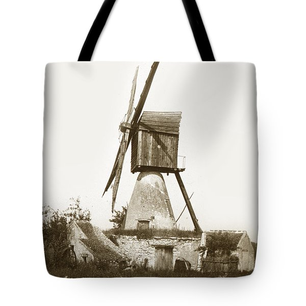 Tote Bag featuring the photograph Wind Mill In France 1900 Historical Photo by California Views Mr Pat Hathaway Archives