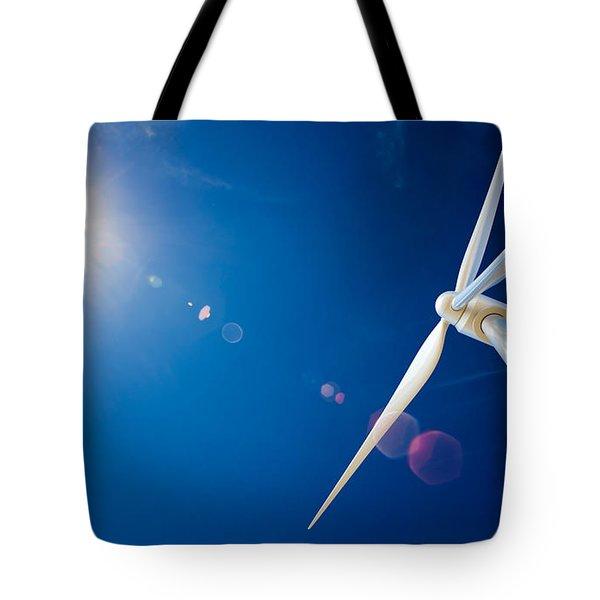 Wind Turbine And Sun  Tote Bag
