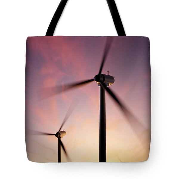 Wind Turbine Blades Spinning At Sunset Tote Bag