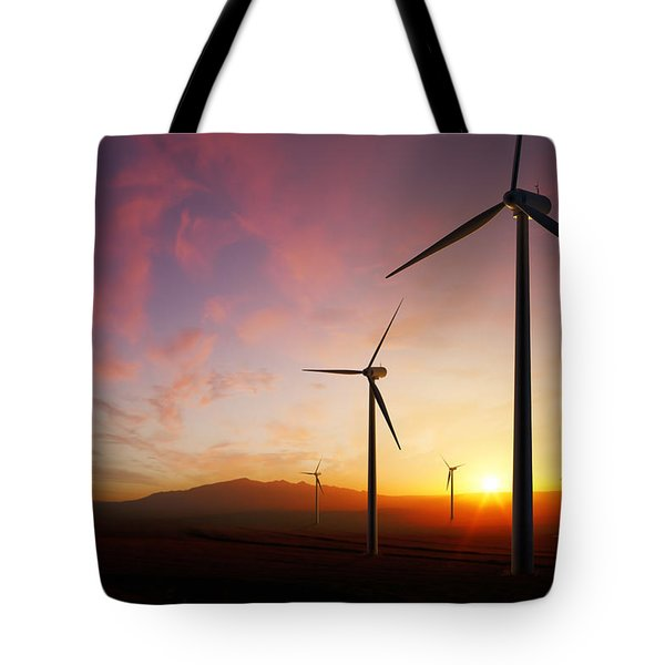 Wind Turbines At Sunset Tote Bag