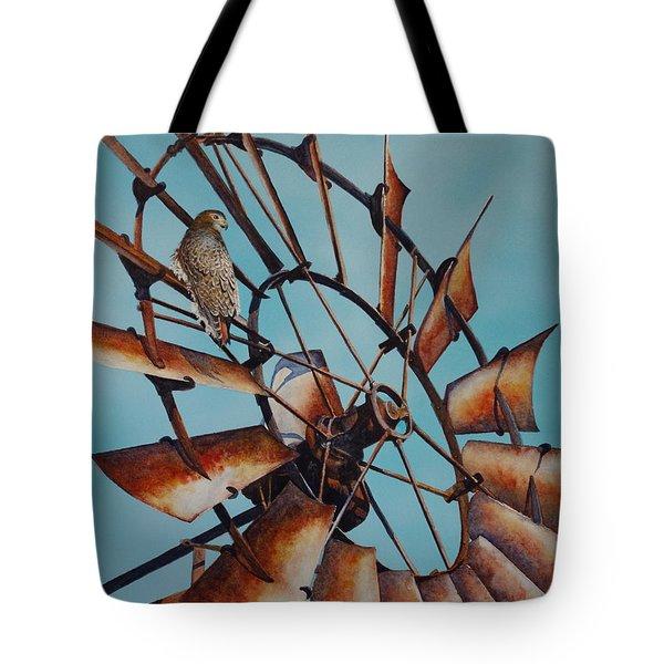 Windmill And Hawk Tote Bag
