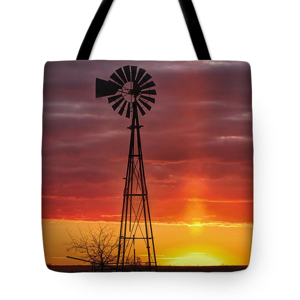 Windmill And Light Pillar Tote Bag