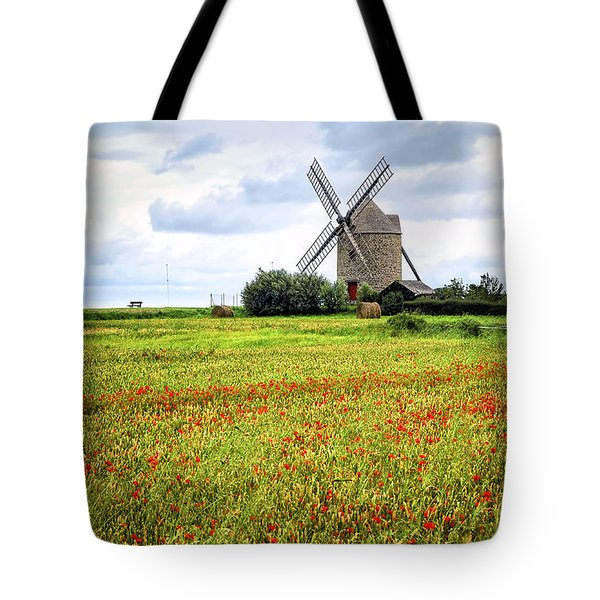 Windmill And Poppy Field In Brittany Tote Bag