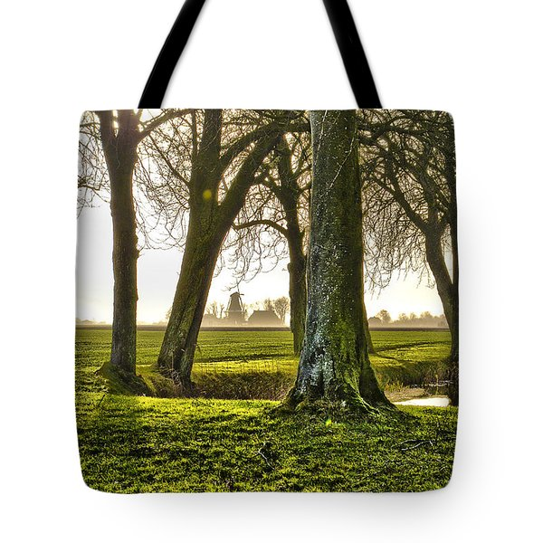 Windmill And Trees In Groningen Tote Bag by Frans Blok